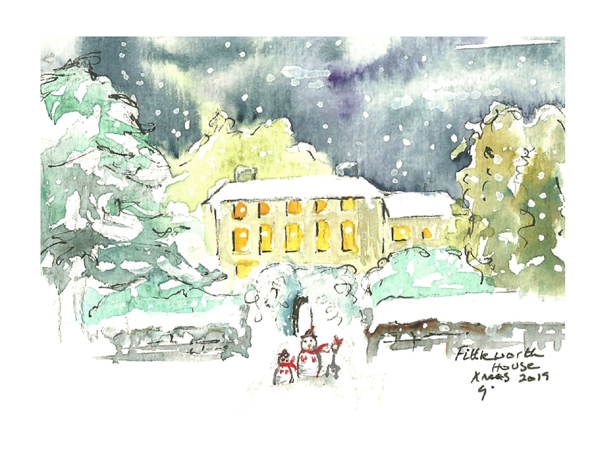 Fittleworth House Christmas Card by Clare Jackman