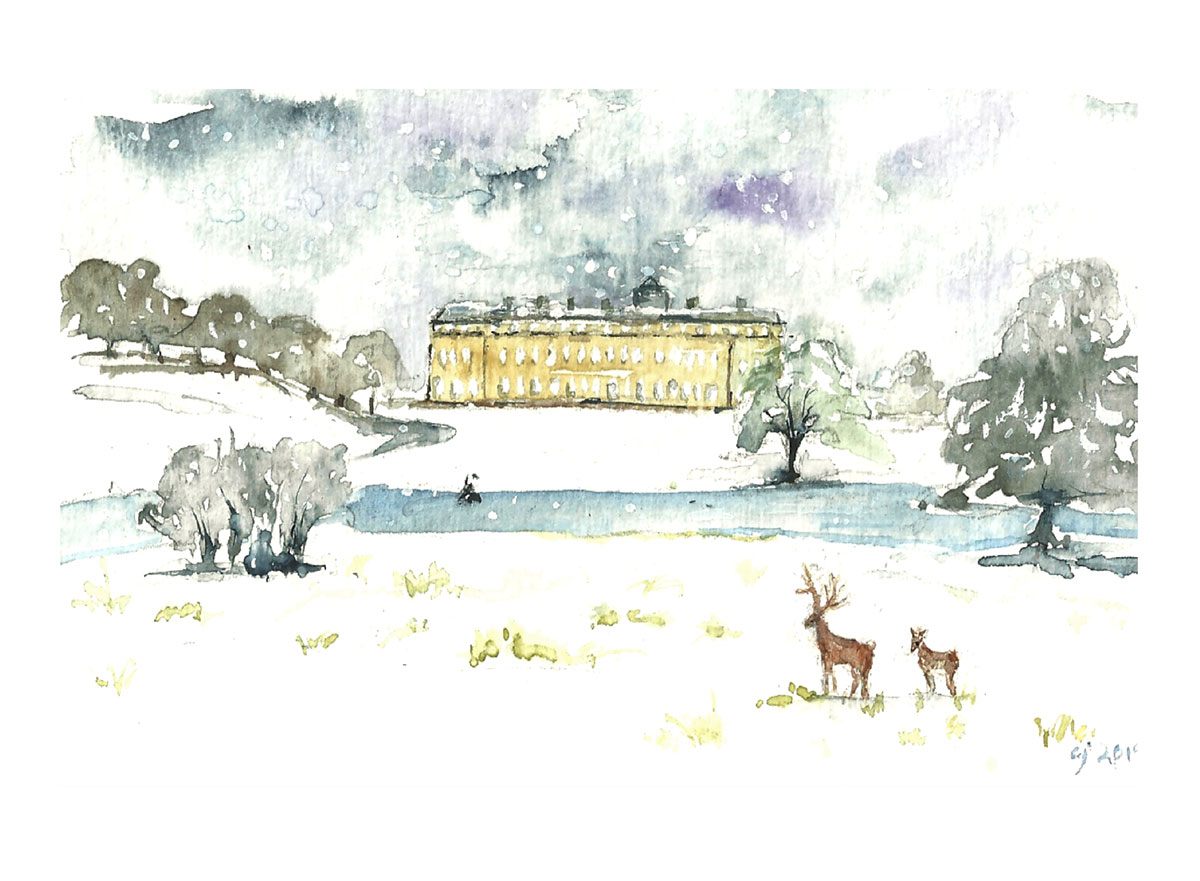 Petworth Park Christmas Card by Clare Jackman